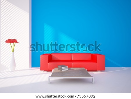 colored modern room - stock photo