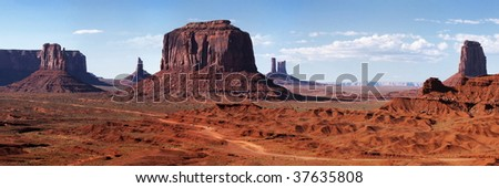 Colored Monument Valley during sunset - stock photo