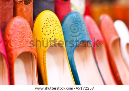 Colored Moroccan Shoes - stock photo