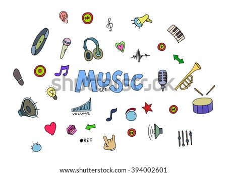 Colored Music doodles.  - stock photo
