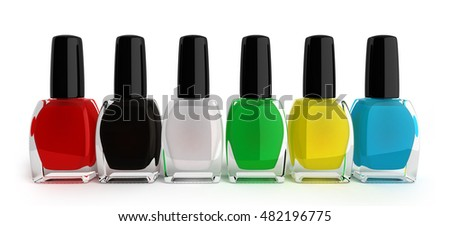 colored nail polish bottels 3d render on white background