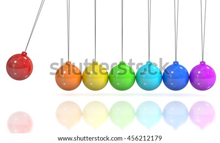 Colored Newton's cradle, pendulum. 3D rendering isolated on white background - stock photo