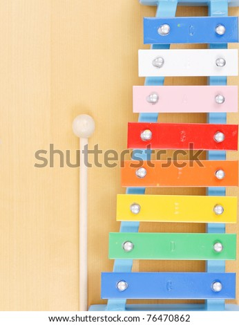 Colored Note Keys on Xylophone Toy - stock photo