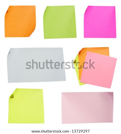 Colored notes paper. Clipping path. - stock photo