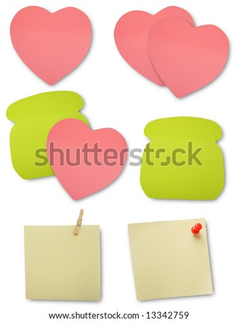 Colored notes paper, clipping path, soft shadows - stock photo