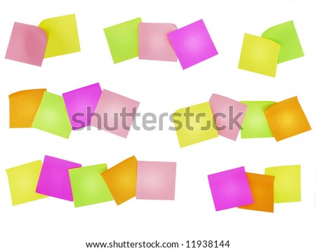 colored notes paper, ready for your notes - stock photo