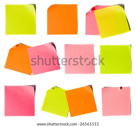 Colored notes paper set - stock photo