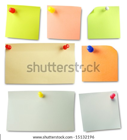 Colored notes paper. Soft shadows. - stock photo