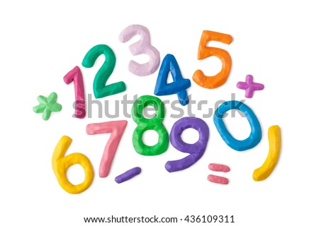 colored numbers on a white background - stock photo
