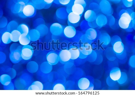 Colored of blurred lights bokeh. Abstract  blue Christmas background