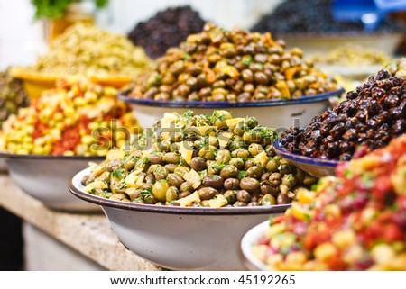 Colored Olives from Moroccan Market