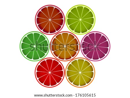 Colored orange slices isolated