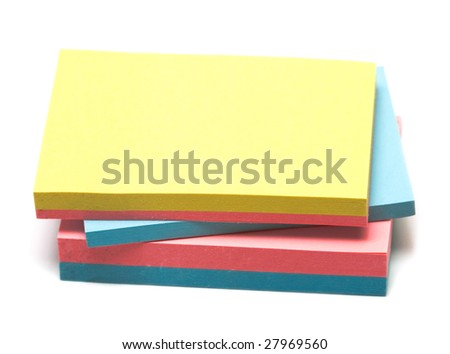 colored pages of notebook on white - stock photo
