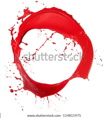 Colored paint splash ring isolated on white background - stock photo