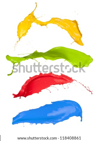 Colored paint splashes collection on white background - stock photo