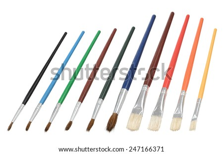 Colored painting brushes - stock photo