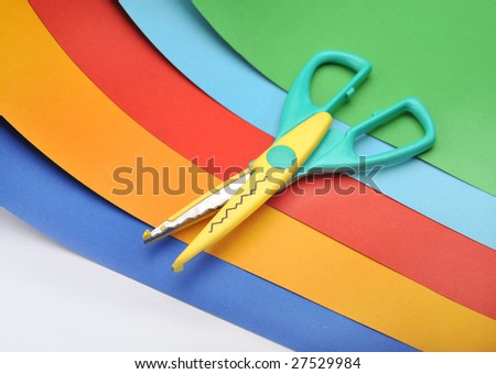 Colored paper and scissors