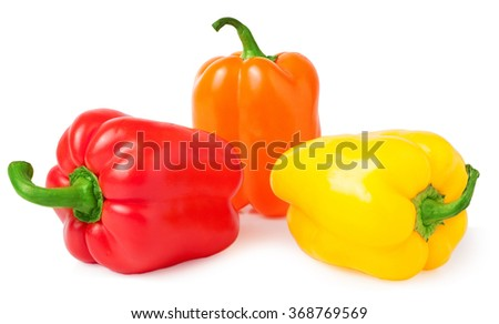 colored paprika isolated on white background.
