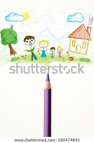 Colored pencil close-up with a paint drawing of a family - stock photo
