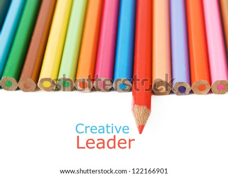 Colored pencil isolated on white background. Creative leader concept - stock photo