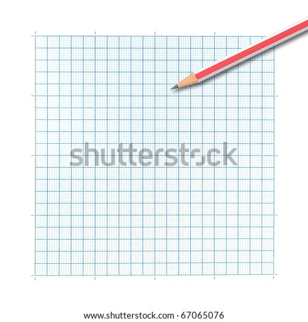 colored pencil on graph paper background - stock photo