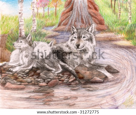 Colored Pencil Sketch of a family of wolves sitting by a dirty stream with a few trees and grass in the background. - stock photo