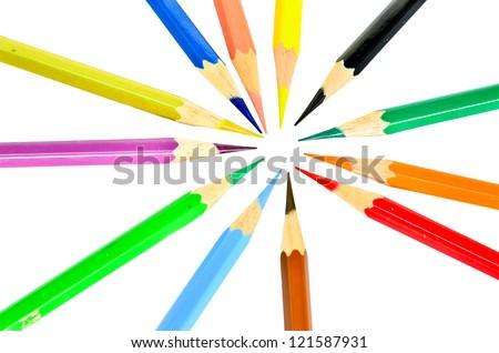 Colored pencils. - stock photo