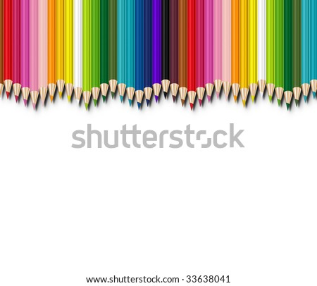 colored pencils aligned on white background - stock photo