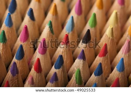 colored pencils closeup on sharpen edges - stock photo