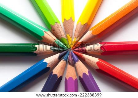 colored pencils color wheel - stock photo