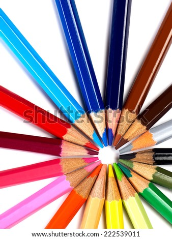 Colored pencils colored pencils on white background - stock photo