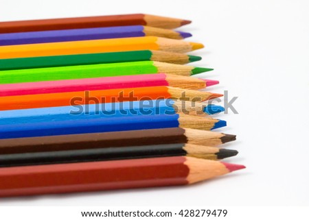 Colored pencils  / Colour pencils isolated on white background close up / colored pencils /  Colorful wooden Colored pencils on white background /  Colorful wooden Colored pencils - stock photo