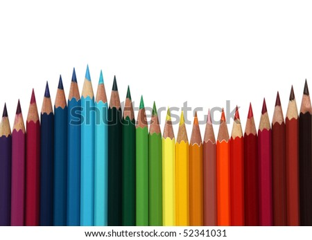 colored pencils frame arranged on white background. - stock photo