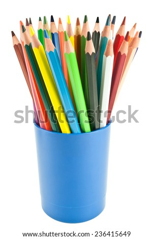 Colored pencils in a blue cup isolated on white background - stock photo
