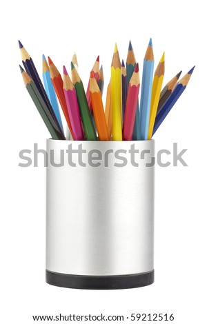 Colored pencils in a jar - stock photo