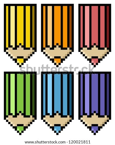 Colored Pencils in Big Pixels; Pixel art; Education concept - stock photo