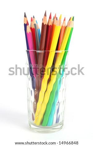 colored pencils in glass