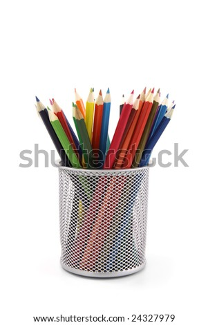 Colored pencils in pot isolated on white background