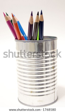 Colored Pencils in Tin Can - stock photo