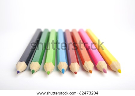 colored pencils isolated on a white background