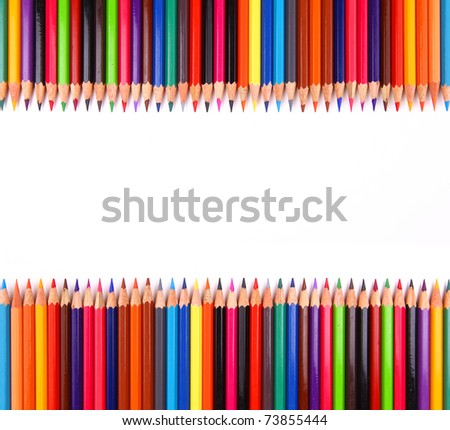 Colored pencils, isolated, on a white background - stock photo