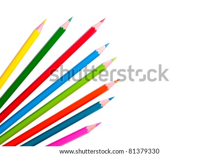 colored pencils isolated on the white background - stock photo