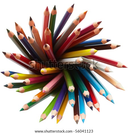 Colored pencils, isolated on the white background, clipping path included. - stock photo