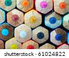 colored pencils isolated on white background - stock photo