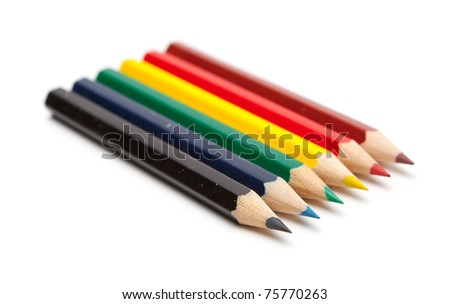 Colored pencils. Isolated on white background. - stock photo