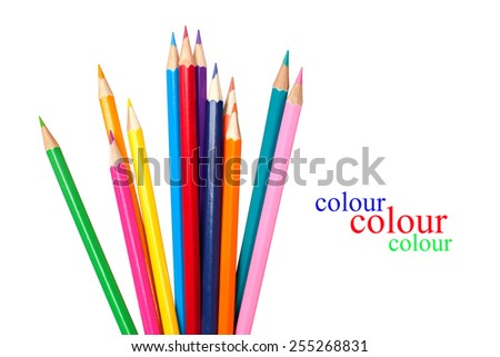 colored pencils isolated on white background with space for text - stock photo