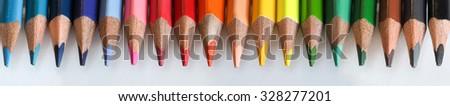 Colored pencils. Macro. Creative background - stock photo