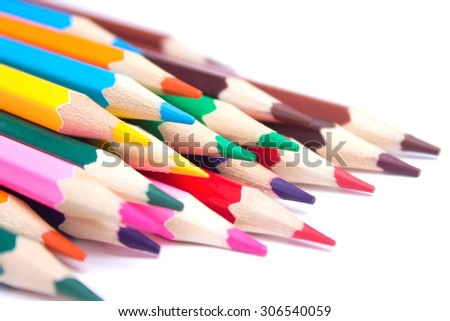 colored pencils on an isolated background - stock photo