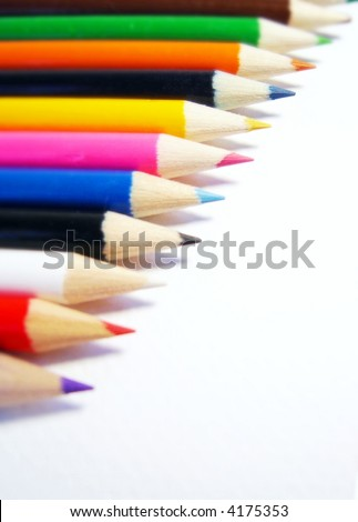 colored pencils on white background - stock photo