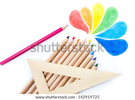 Colored pencils Rainbow Drawing school supplies  on white background - stock photo